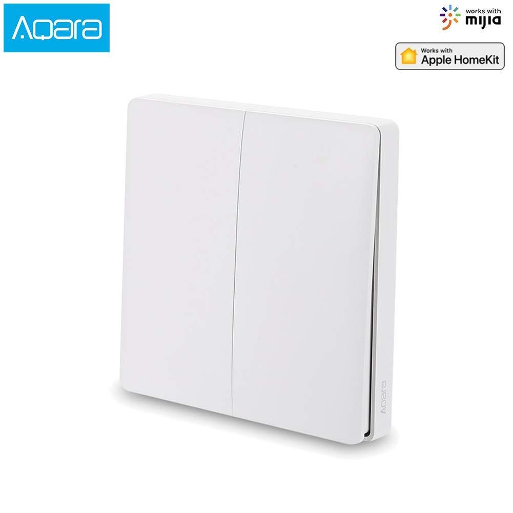 Aqara Interruptor Wifi [Versión actualizada], interruptor inalambrico Compatible Con La para Mijia Y para Homekit, Control Remoto De App, No se necesita cable (2 Botón)