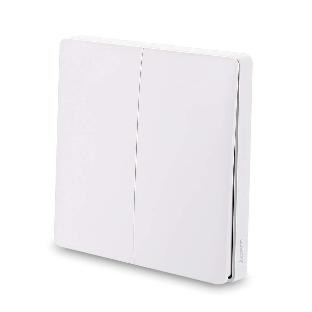 Blusea Interruptor de Pared Aqara, Timbre de Puerta Inteligente, Interruptor de Control de luz WiFi 2,4 GHz, Mando a Distancia inalámbrico Home Kit de Mi Home App (DoubleKey), 2