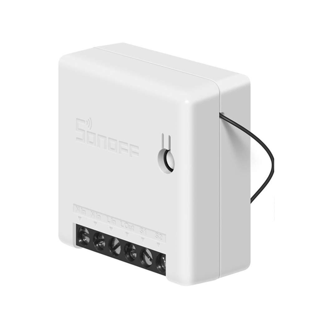 KKmoon Mini Interruptor Inteligente WiFi Interruptor de Dos Vías 10A Compatible con el Modo DIY Smart Remote Automatización de Aparatos Domésticos Interruptores Inteligentes