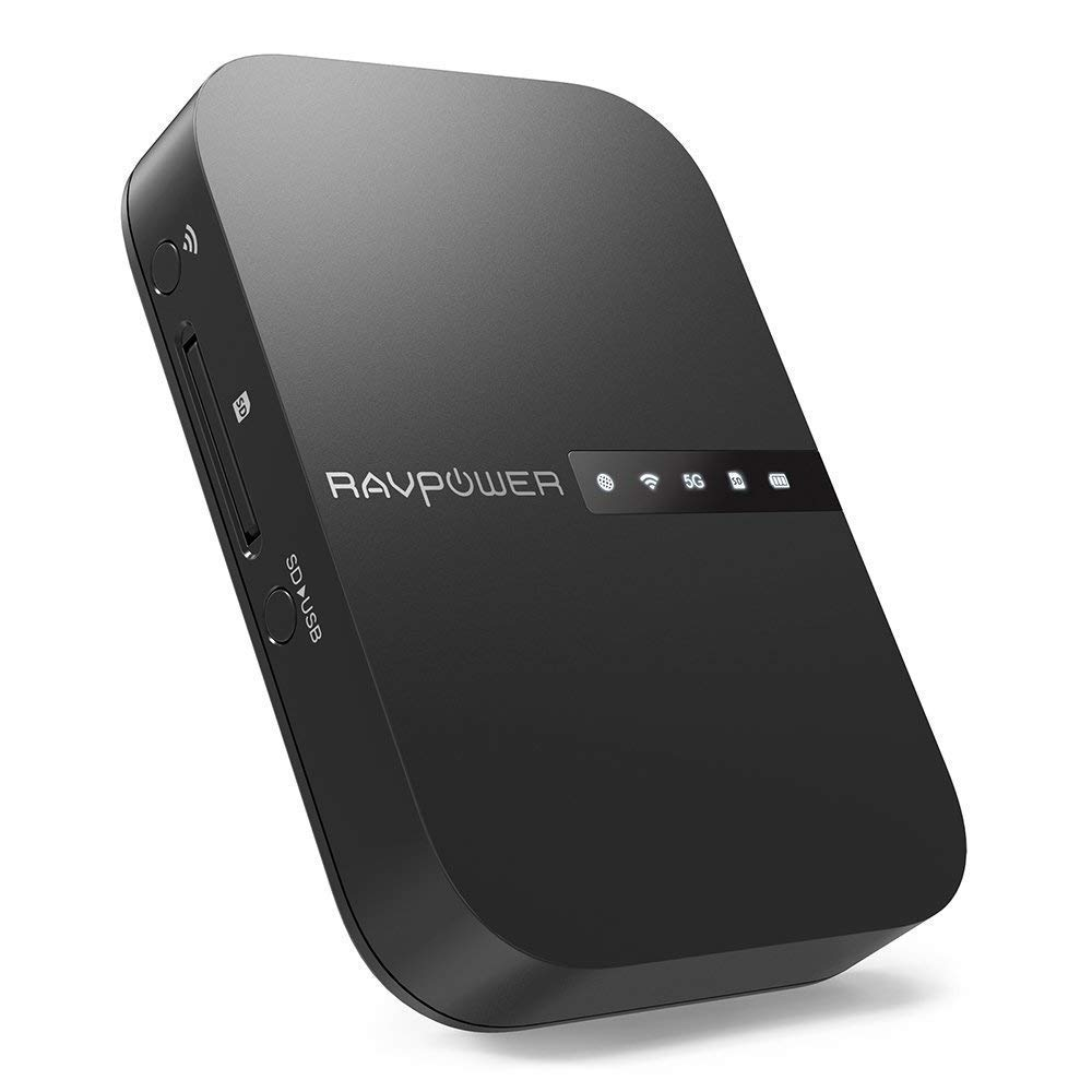 RAVPower FileHub 5en 1, Router portátil de Viaje inalámbrico AC750, Curador y transmisión de Datos en Tarjeta SD HDD 12–18MB/s, Banda 5GHz y 2.4GHz, Batería Externa 6700mAh, Cloud Personal