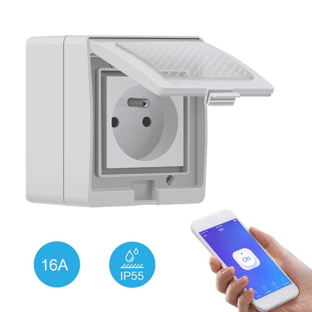 Sonoff S55 - Enchufe inteligente para exterior (Wi-Fi, impermeabilidad IP55, compatible con Alexa/Google Home/IFTTT, control remoto, control por voz, función de tiempo, carga máxima 16 A)