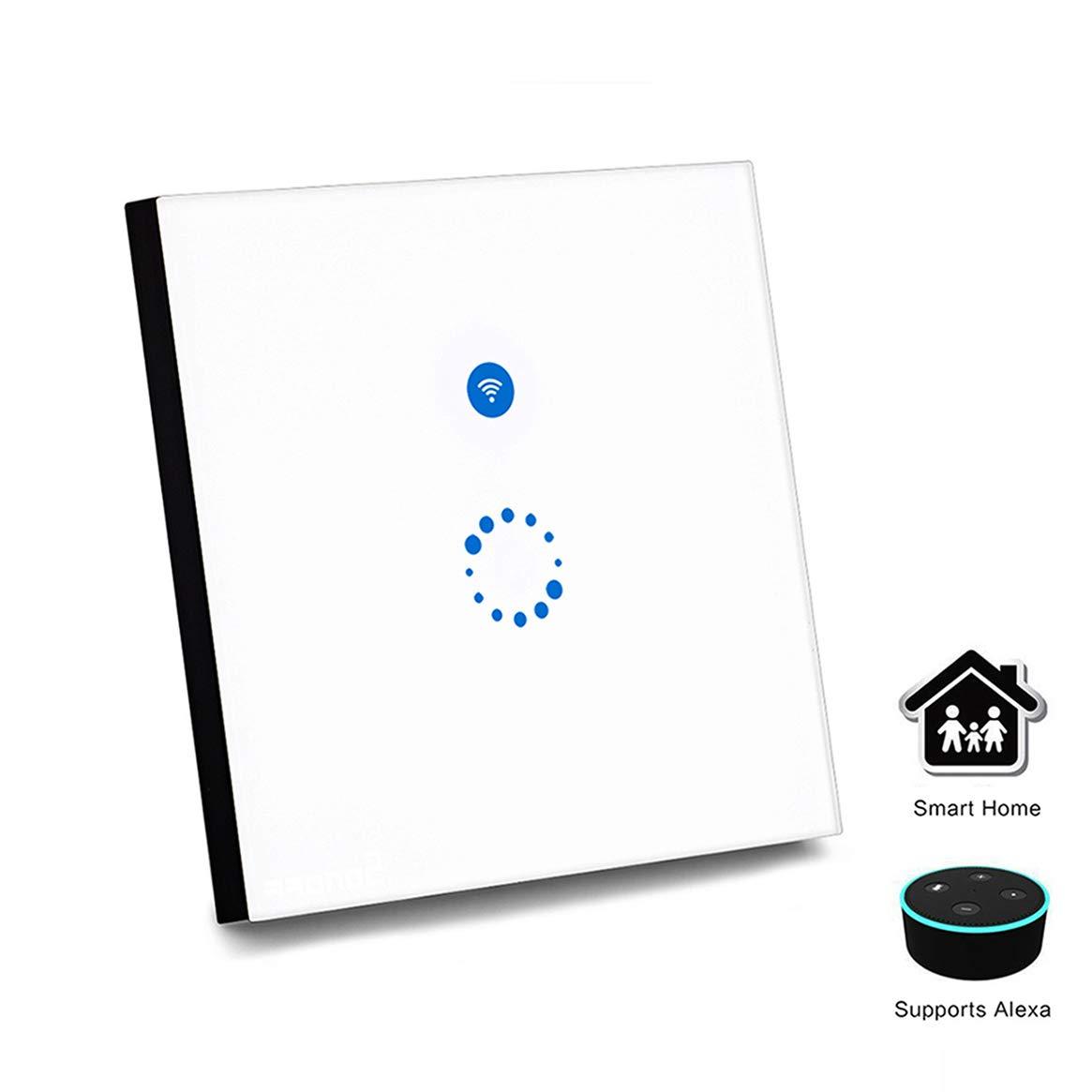 Interruptor Wifi Sonoff, Wi-Fi Interruptor de Luz Táctil, Templado Panel de Luz LED Interruptor de p