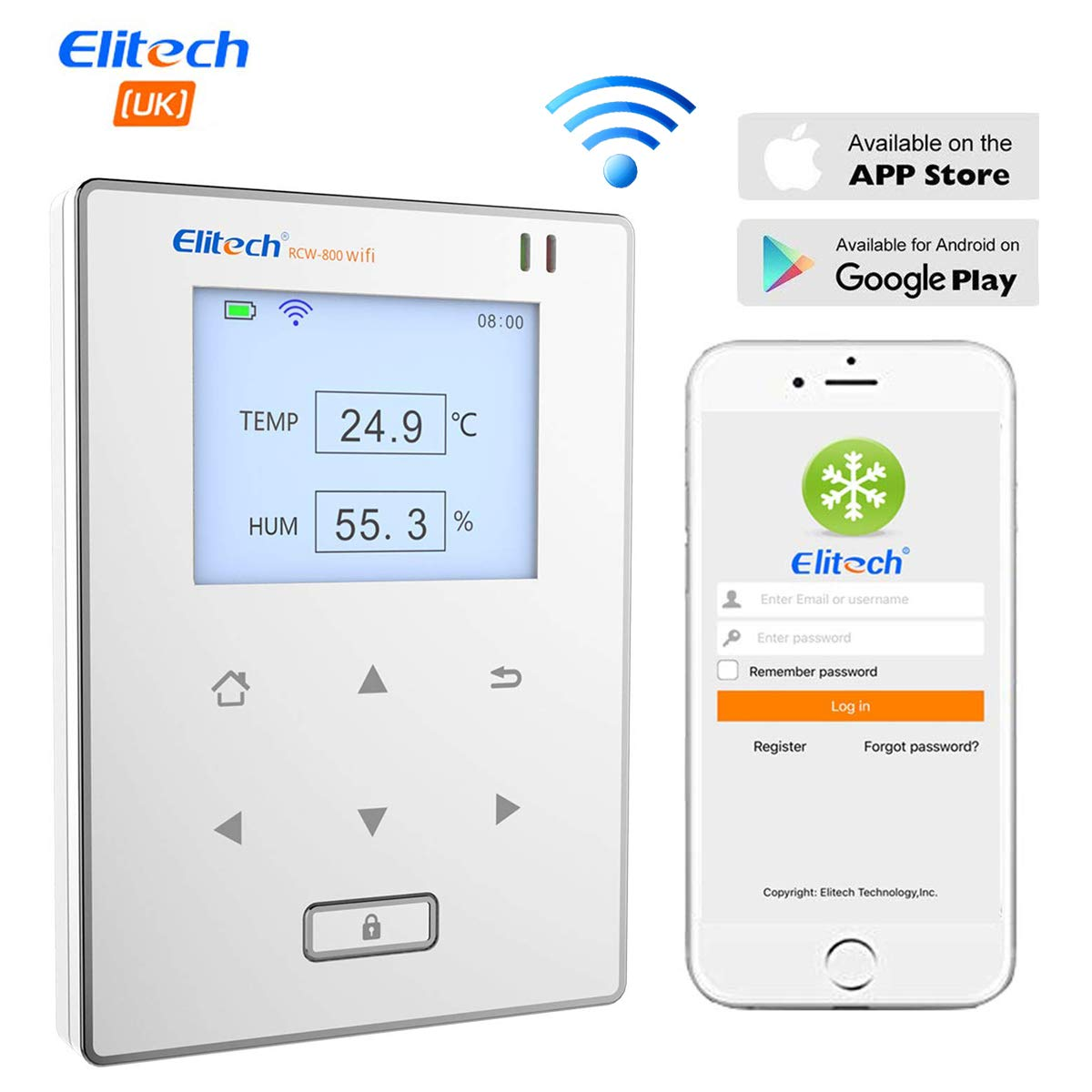 Elitech RCW-800 WIFI Registrador de Datos de Humedad y Temperatura, Termometro Higrómetro Sensor Inteligente, Monitor de Datos Remoto, Alertas de APP, para Laboratorio, Bodega, Garantía de 12 meses