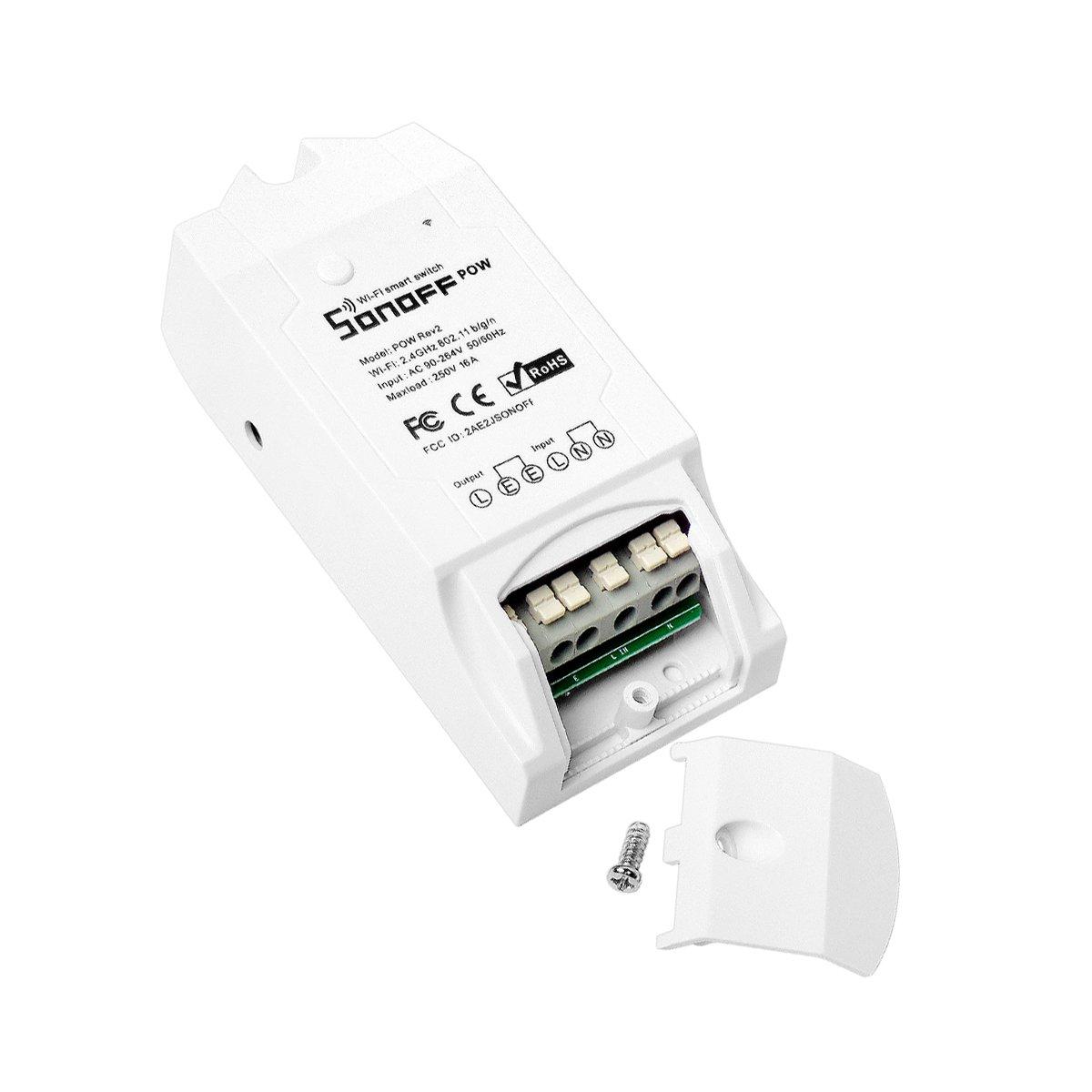 Sonoff POW R2 Interruptor de Control Remoto Inalámbrico Monitor de Alimentación Remoto wifi Inteligente (Mida de Consumo de Energía, potencia, Voltaje, Corriente) para Alexa, Google Nest