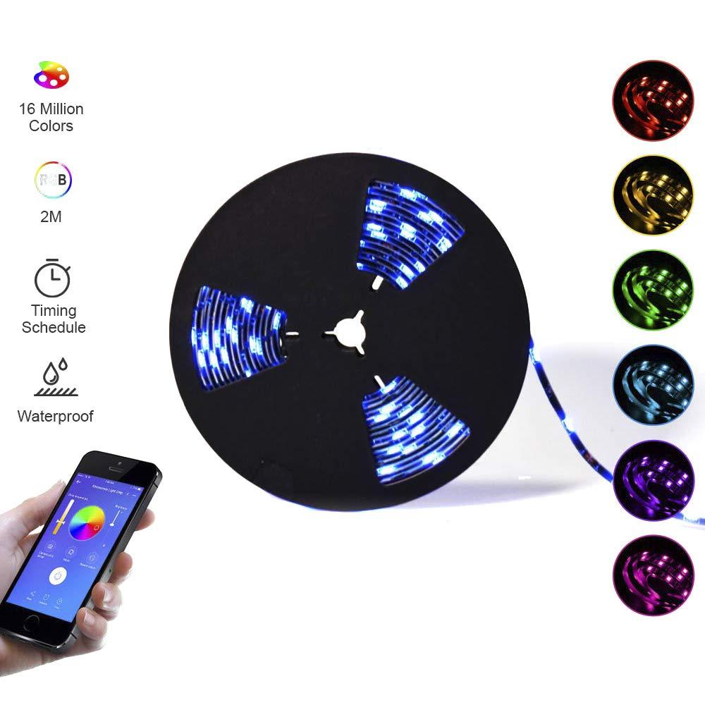 SONOFF 5050RGB-2M Tira de luces inteligente regulable, tiras de luces Wi-Fi con control remoto mediante aplicación, a prueba de agua. Funciona con Amazon Alexa