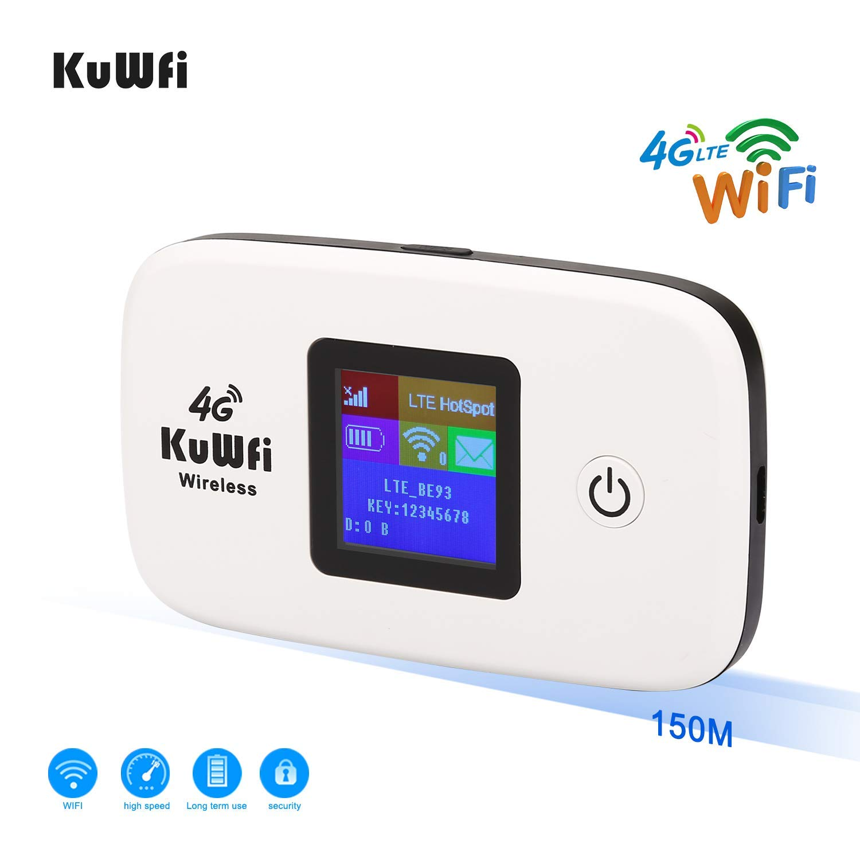 KuWFi Desbloqueado 150Mbps 4G WiFi Router de Viaje Router de Viaje LTE Mobile WiFi Hotspot Soporte 4G B1/ B3/ B5 hasta 10 usuarios de WiFi