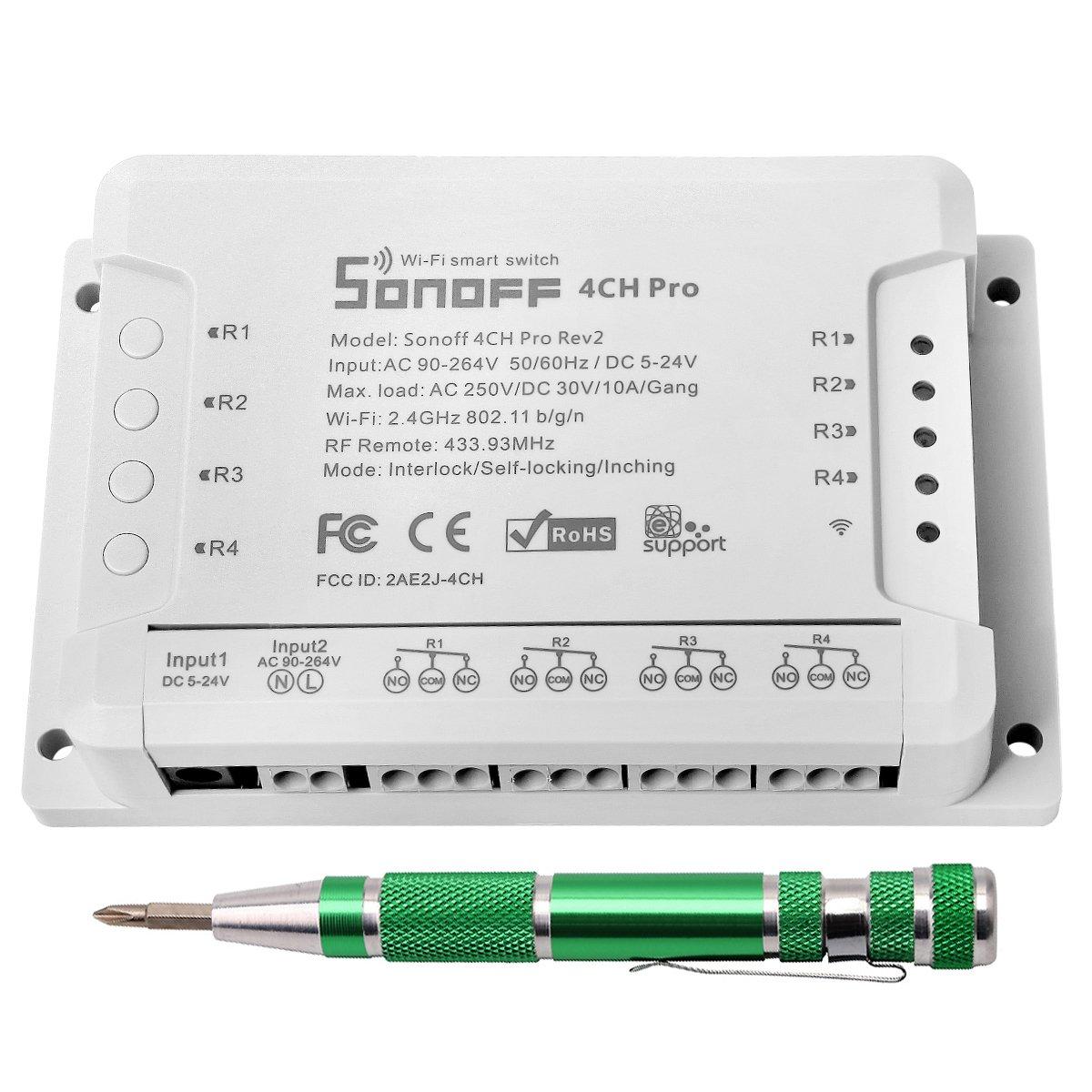 4CH Pro R2 Interruptor inalámbrico inteligente WiFi Conmutador de Control Remoto del Temporizador con Inching /Autobloqueo /Enclavamiento para Amazon Alexa+ 9-en-1 Destornilladores